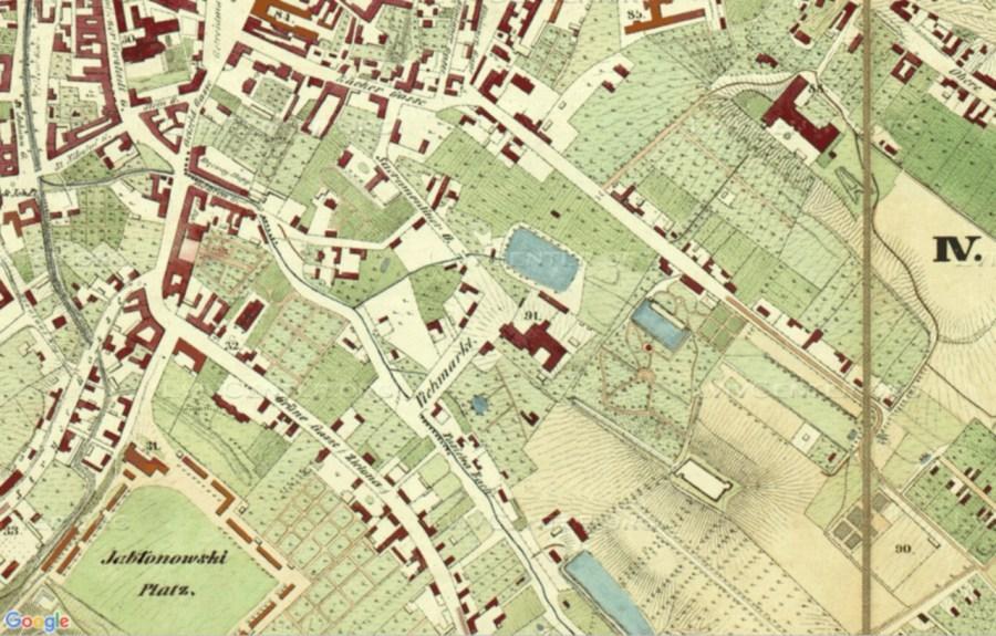 План Львова 1844 року, на котрому помітно став біля палацу Туркулів-Комелло, Вороблячий став та став Шумана