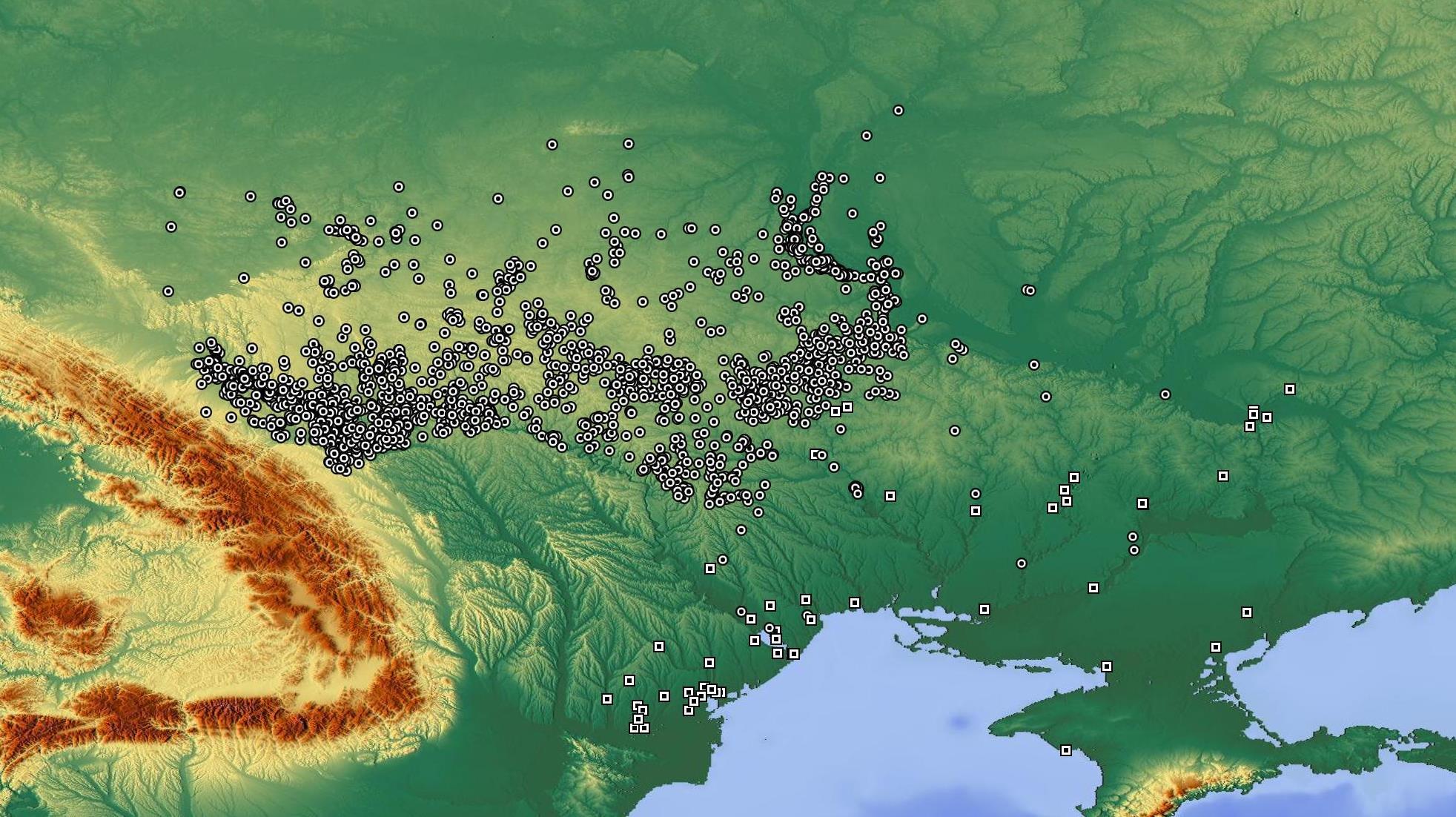 карта археологічних знахідок трипільської культури