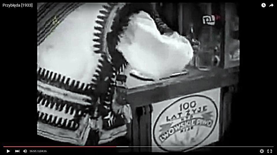 Реклама Львівського пива в фільмі «Приблуда», 1933 р.