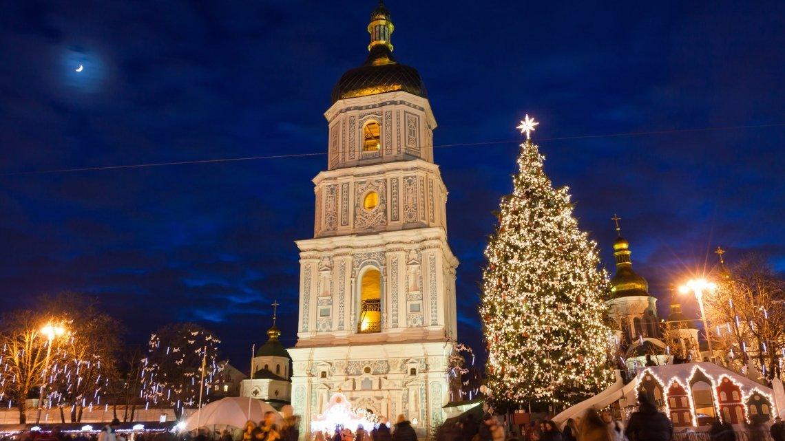Софіївська площа, зима, новорічна ялинка